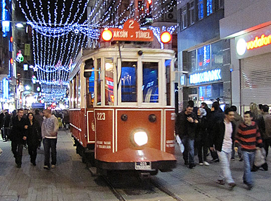 antique tram on Istikal Caddesi, Istanbul