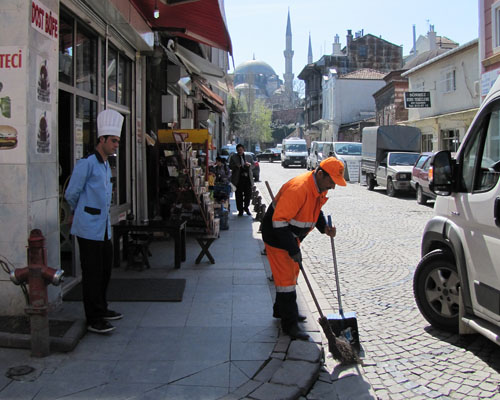 street sweeper in the Fatih District, Istanbul