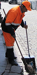 street sweeper, Fatih District, Istanbul
