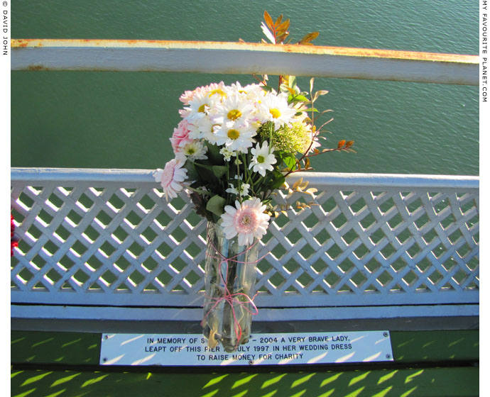 Flowers for Shirley on Bangor Pier, North Wales at The Cheshire Cat Blog
