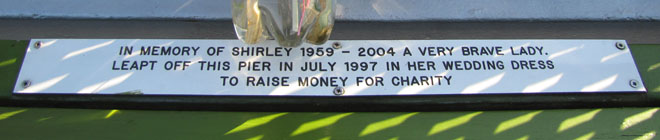 Memorial bench plaque for Shirley at The Cheshire Cat Blog