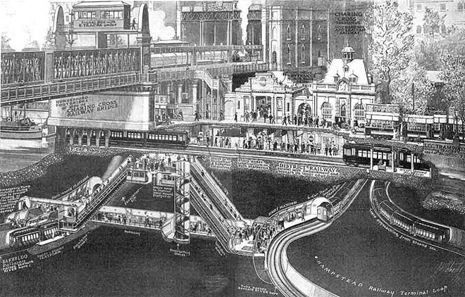 Charing Cross Bridge and railway, underground and tram links, London at the Cheshire Cat Blog