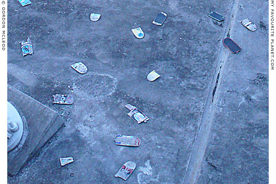 Close-up of Hungerford Bridge Skateboard cemetery by Gordon Mcleod at the Cheshire Cat Blog