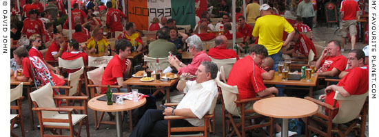 Liverpool fans in Monastiraki, Athens, Greece