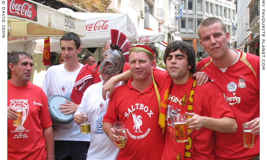Liverpool football fans in the Plaka, Athens, Greece