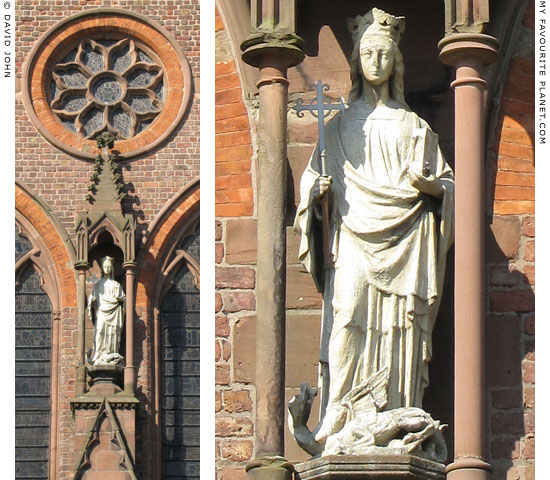 Statue of Saint Margaret of Antioch with a dragon at her feet at The Cheshire Cat Blog