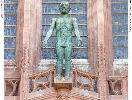 Statue of the Risen Christ by Elisabeth Frink on the north side of Liverpool Cathedral at The Cheshire Cat Blog