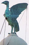 Liver bird designed by Carl Bernard Bartels, on top of the Royal Liver Building, Liverpool at The Cheshire Cat Blog