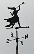 Weather vane with woman trumpeter, Isla Afortunada at The Cheshire Cat Blog