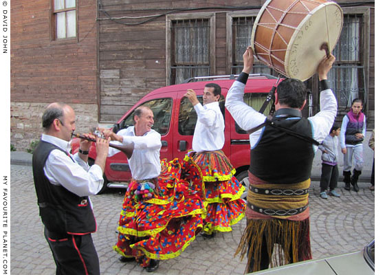 Kocheck dancers and musicians at a wedding celebration on the street in Istanbul's Fatih district at The Cheshire Cat Blog