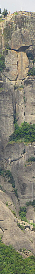 The 575 metre high rock of Agios Stefanos monstery, Meteora, Greece at The Cheshire Cat Blog