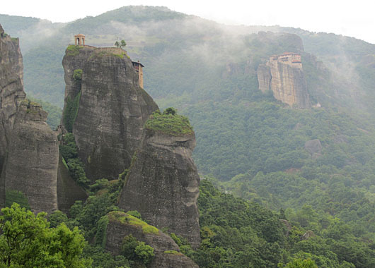 A misty day in Meteora, Greece at The Cheshire Cat Blog