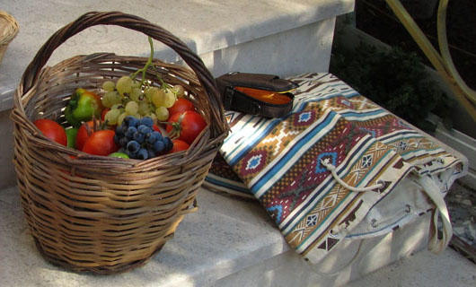 Basket of summer fruits, Nea Vrasna, Macedonia, Greece at The Cheshire Cat Blog