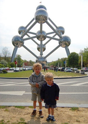 The boys at the Atomium, Brussels at The Cheshire Cat Blog
