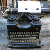 Old typewriter in a junk shop, Psyri, Athens at The Cheshire Cat Blog