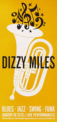 Poster for Dizzy Miles jazz club, Pangrati, Athens, Greece at The Cheshire Cat Blog