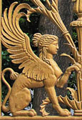 Sphinx on the gate of Schlemann's mansion, Athens, Greece at The Cheshire Cat Blog