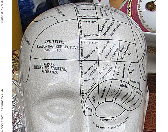 Phrenology model in an Athens junk shop at The Cheshire Cat Blog