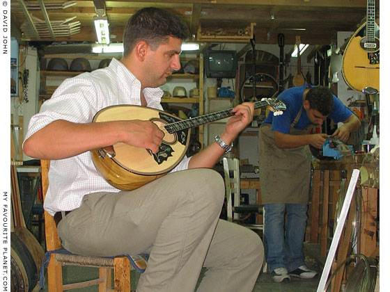 Bouzouki maker in the Psyri district of Athens, Greece at The Cheshire Cat Blog