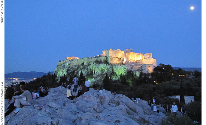 Moonlight over the Acropolis and Areopagus Hill, Athens at The Cheshire Cat Blog