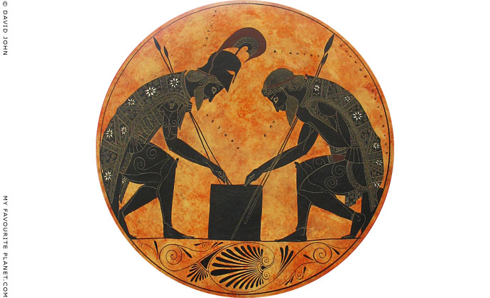 Achilles and Ajax playing a board game, from a black-figure vase by Exekias, circa 540 BC at The Cheshire Cat Blog