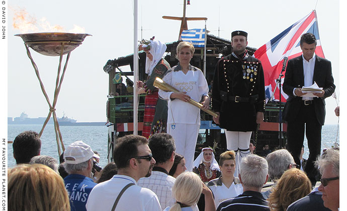 The British Union Jack flag being raised during the Olympic flame ceremony in Thessaloniki, Greece at The Cheshire Cat Blog
