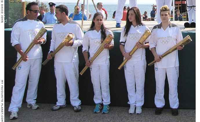 Young Greek athletes during the 2012 Olympic flame ceremony in Thessaloniki, Greece, at The Cheshire Cat Blog