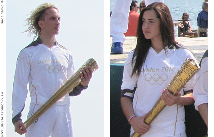 Greek torchbearers during the 2012 Summer Olympics flame ceremony in Thessaloniki, Greece, at The Cheshire Cat Blog