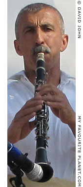 A Macedonian clarinettist playing traditional Greek dance music in Thessaloniki, Greece, at The Cheshire Cat Blog
