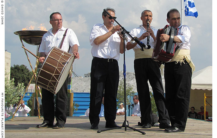 A Macedonian band playing traditional Greek dance music in Thessaloniki, Greece, at The Cheshire Cat Blog