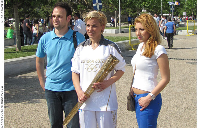 Olympic torchbearer Giota Oikonomou and friends at the Olympic flame ceremony, Thessaloniki, Greece, at The Cheshire Cat Blog