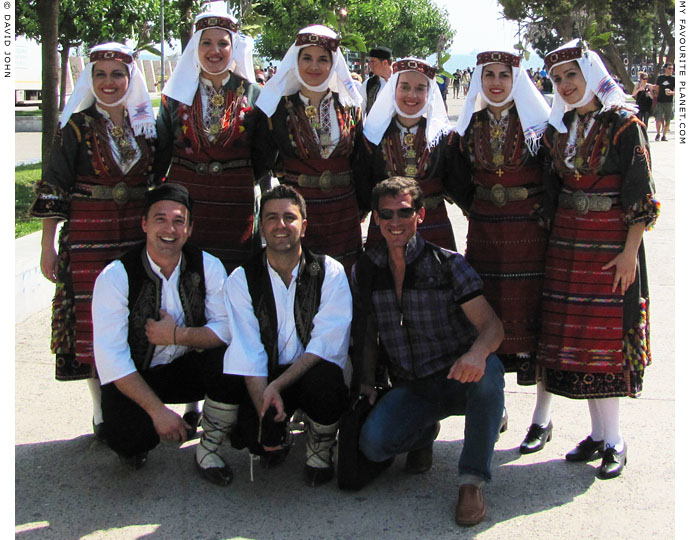 A traditional Greek Macedonian dance team, in Thessaloniki, Greece, at The Cheshire Cat Blog