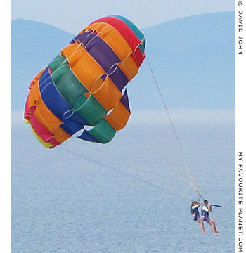 Parasailing couple, the coast of the Dilek Peninsula, Turkey