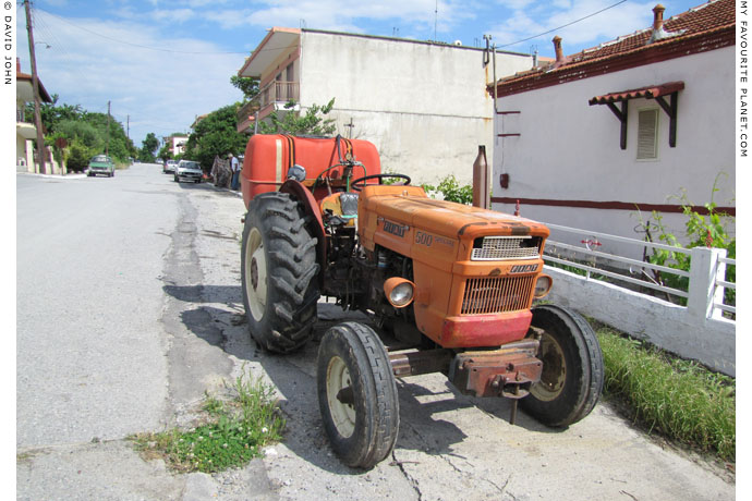 A Fiat tractor in Pella village, Macedonia, Greece at The Cheshire Cat Blog
