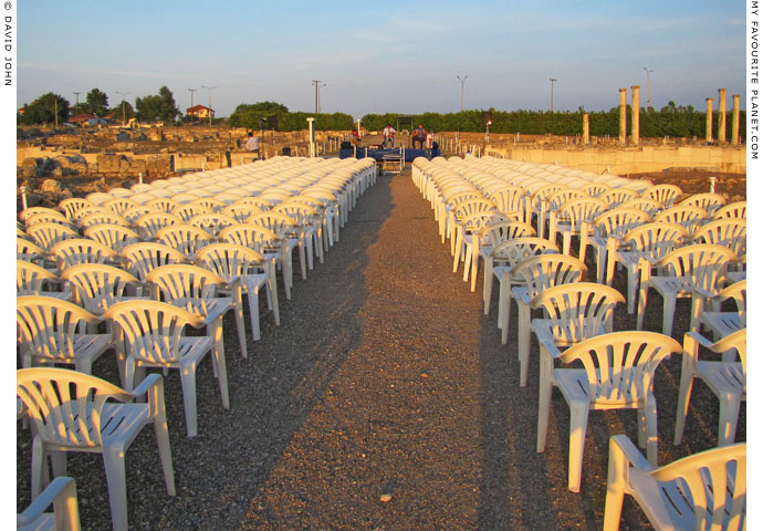 The seating for the August full moon concert at the archeological site of Pella, Macedonia, Greece