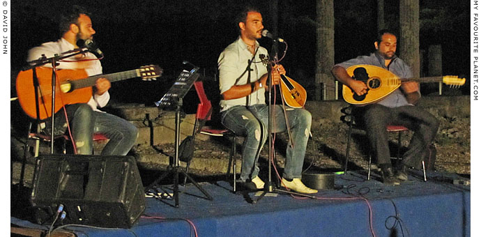 George Sfakianakis and his band play Cretan music in Pella, Greece at The Cheshire Cat Blog