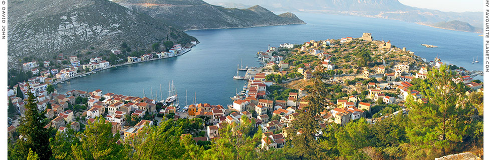 Panoramic view of the main harbour of Kastellorizo island, Dodecanese, Greece at The Cheshire Cat Blog