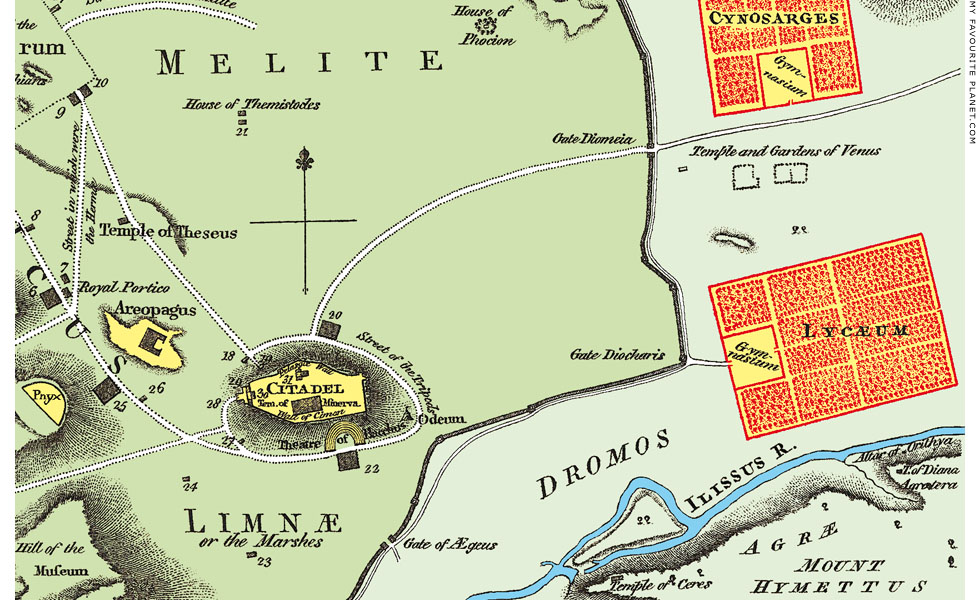Map of Athens by Jean-Denis Barbié du Bocage at The Cheshire Cat Blog