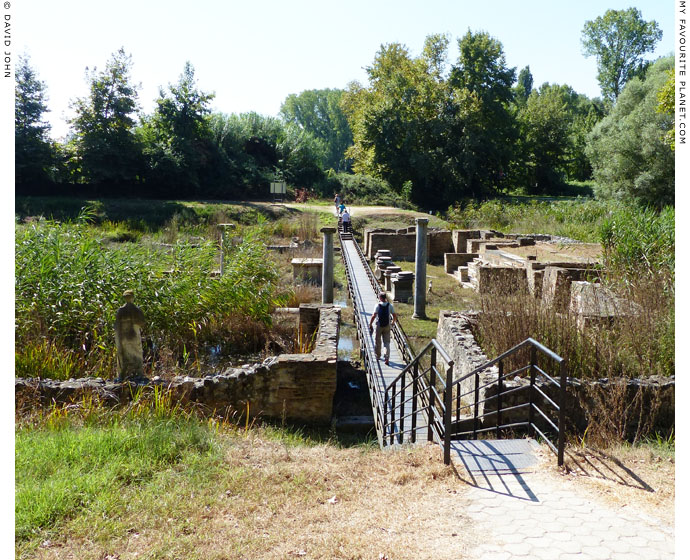 The raised walkway through the sanctuary of Isis, ancient Dion, Macedonia at The Cheshire Cat Blog