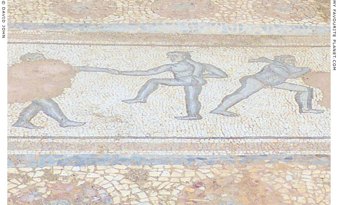 Floor mosaic depicting wrestlers in the Great Baths complex, Dion at The Cheshire Cat Blog