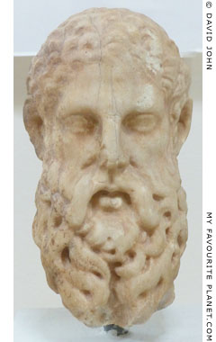 Marble head of Zeus in Dion Archaeological Museum at The Cheshire Cat Blog