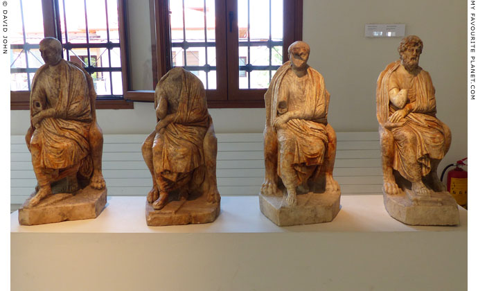 Statues of four philosophers from the Villa of Dionysos, Dion Archaeological Museum at The Cheshire Cat Blog