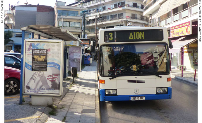 The local bus for Dion in Katerini city centre at The Cheshire Cat Blog