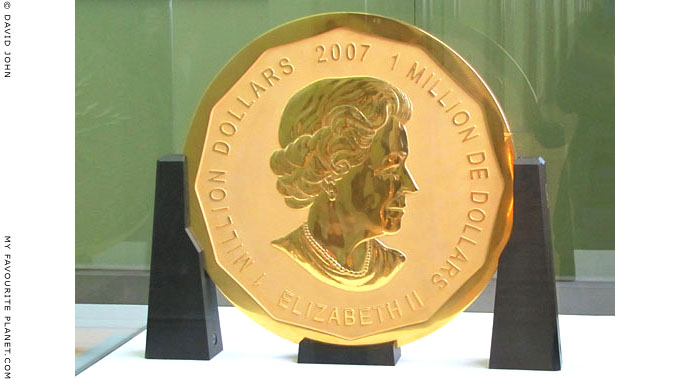 Queen Elizabeth the second's portrait on a million dollar gold coin, the largest gold coin in the world