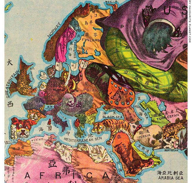 Satirical map of the world at the Mysterious Edwin Drood's Column