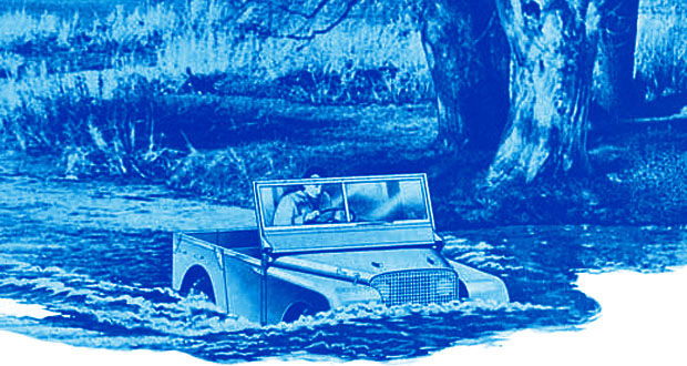 A Land Rover Defender drives through water at the Mysterious Edwin Drood's Column