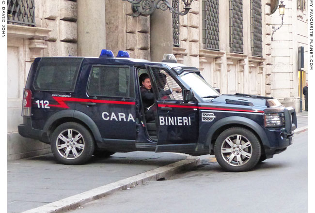 A Carabinieri Land Rover Defender in Rome, Italy at the Mysterious Edwin Drood's Column