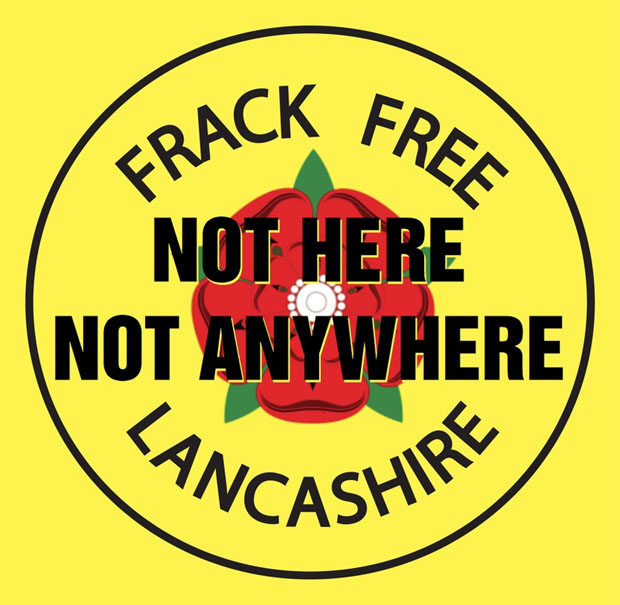 Frack Free Lancashire campaign logo at the Mysterious Edwin Drood's Column