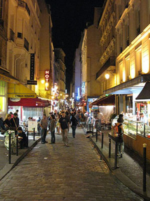 Night life in the narrow streets of the Latin Quarter, Paris at My Favourite Planet