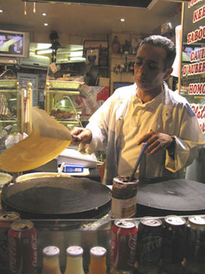 Freshly-made crepes in the Latin Quarter, Paris at My Favourite Planet